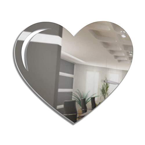 4ArtWorks 3D-Wanddekoration Herz aus Acryl, aufhängfertig, für Schlafzimmer, Wohnzimmer, Wohnzimmer und mehr – handgefertigt Moderne Liebesskulptur Modern 12' W x 10' T Silberfarben verspiegelt