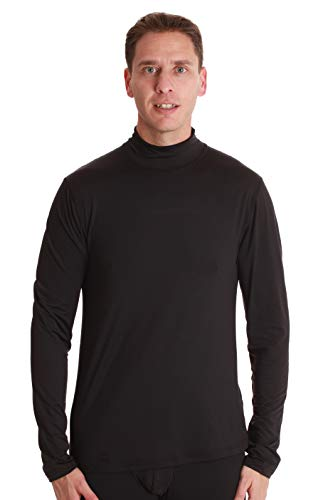 At The Buzzer Mens Performance Thermal Long Sleeve Mock Neck Top 55941-BLK-L Black