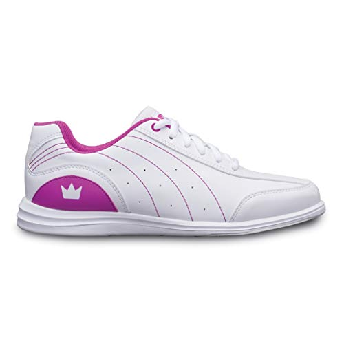 Brunswick Bowling Products Girls Mystic Bowling Shoes- 04 (Youth), White/Fuchsia, 4