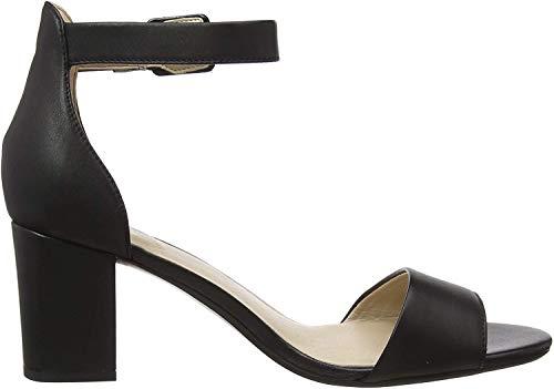 Clarks Deva Mae, Zapatos con Tacon y Correa de Tobillo para Mujer, Negro (Black Leather-), 39 EU