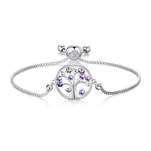 Philip Jones Silver Chakra Tree of Life Bracelet Created with Austrian Crystals