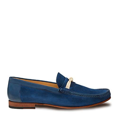 Mezlan Segura Mens Luxury Formal Loafers - Italian Calfskin Slip-On Moccasin with Leather Sole - Handcrafted in Spain - Medium Width (10.5, Blue)