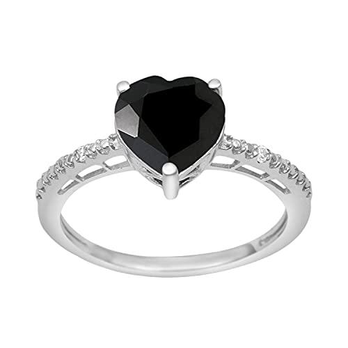 Shine Jewel Multi Elija su Acentos Laterales de Piedras Preciosas 2.0 Ctw Anillo Solitario de Amor de Plata esterlina 925 en Forma de corazón