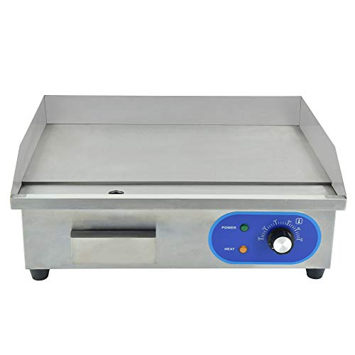 """DULONG Commercial Electric Griddle Flat Top Grill HotPlate Kitchen Countertop Grill with Adjustable Thermostatic Control,Stainless Steel Restaurant Large Grill for Kitchen BBQ(1500W 22"""")"""