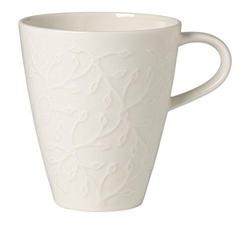 Villeroy & Boch Caffè Club Floral Touch Kaffeebecher, 350 ml, Premium Porzellan, Weiß