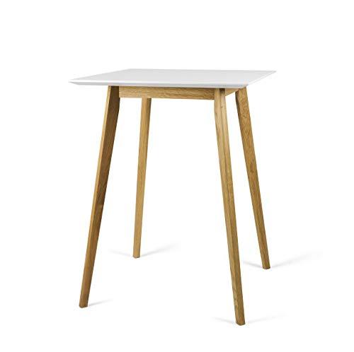 Tenzo BESS Table de Bar, Plateau en Panneaux MDF ép. 25 mm laqués. Piètement Massif huilé, Blanc/chêne, 105 x 80 x 80 cm (HxLxP)