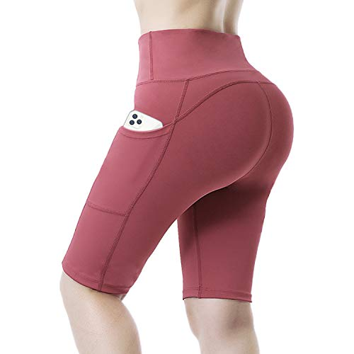 Brands High Waist Yoga Shorts for Women with Pockets Tummy Control Athletic Workout Running Shorts (Strawberry Red, X-Large)