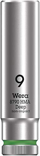 Wera 05004506001 Llave de Vaso 1/4', Verde fosforito, 9.0 mm