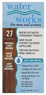 Water Works Permanent Powder Hair Color - #27 Natural Light Brown 0.2 oz. by Water Works