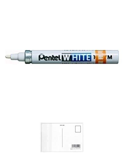 ぺんてる 油性ペン ホワイト<業務用> 中字 白インキ X100W-MDG + 画材屋ドットコム ポストカードA