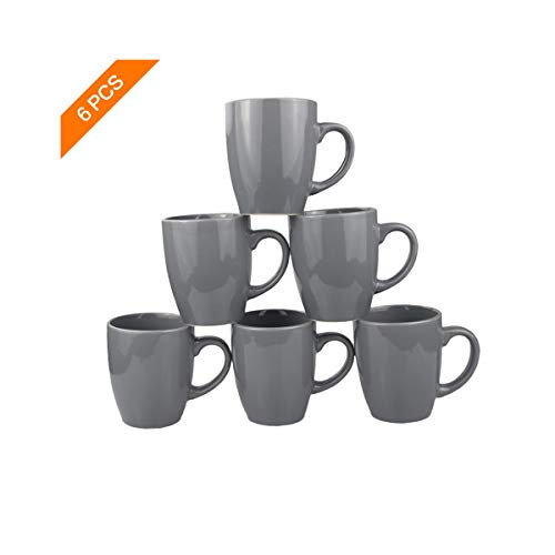 Coffee Mugs Set of 6-12 oz Large Handle Ceramic Cup for Coffee,Cocoa, Tea, Women, Men - New Porcelain(Grey)