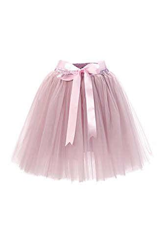 MisShow Damen Rockabilly Tüll Petticoat Reifrock Unterrock Petticoat Underskirt für Rockabilly Kleid One Size 50CM-Läng