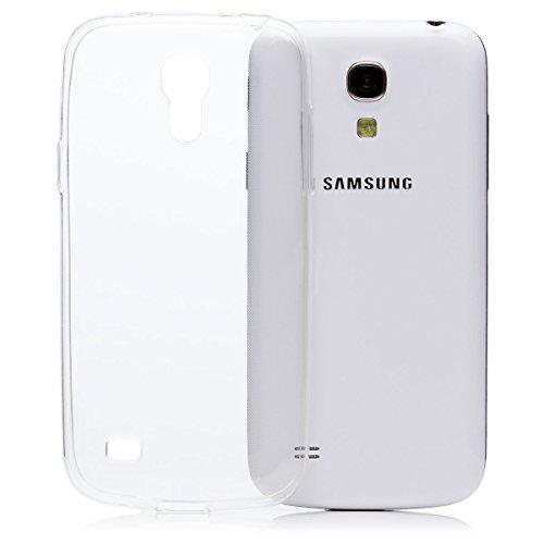 iCues - Cover per Samsung Galaxy S4 Mini, Ultra Sottile, in TPU Trasparente, Pellicola Protettiva per Display Inclusa, Ultra Sottile e Trasparente