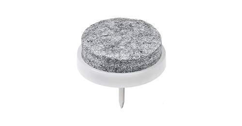Hettich HKB - Protectores de fieltro con pinza, para clavos, para mesas y sillas (16 unidades, diámetro de 28 mm, con clavo), color gris