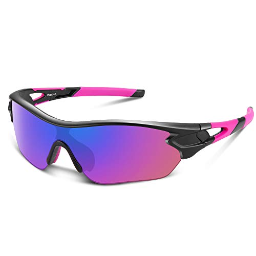 Polarized Sports Sunglasses for Men Women Youth Baseball Cycling Running Driving Fishing Golf Motorcycle TAC Glasses UV400 (Black Pink)
