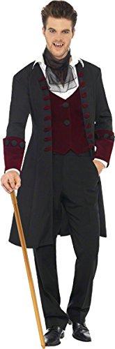 Smiffys-21323L Disfraz Fever de Vampiro gótico, con Abrigo, chalequillo Falso y Corbata, Color Negro, L-Tamaño 42'-44' (Smiffy'S 21323L)