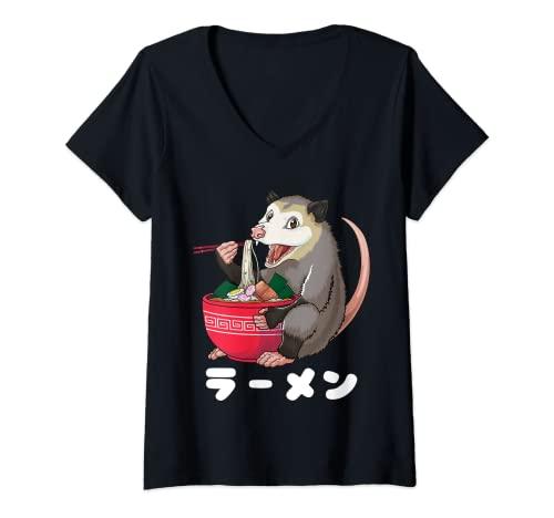 Donna Ramen Opossum Divertente Giapponese Kawaii Ramen Tagliatelle Possum Maglietta con Collo a V