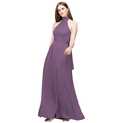 David's Bridal Tie Mock-Neck Ruched Georgette Bridesmaid Dress Style F19997, Wisteria, 10