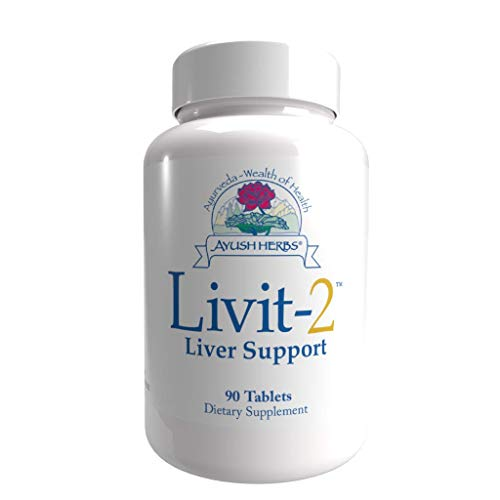 Ayush Herbs Livit-2, Powerful Liver Support and Detoxification, Gastrointestinal Support, All-Natural Ayurvedic Veggie Capsules, Doctor-Formulated, 90 Capsules