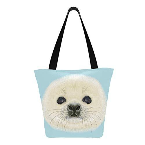 Retrato ilustrado Cría de foca arpa linda 11 x 7 x 13...