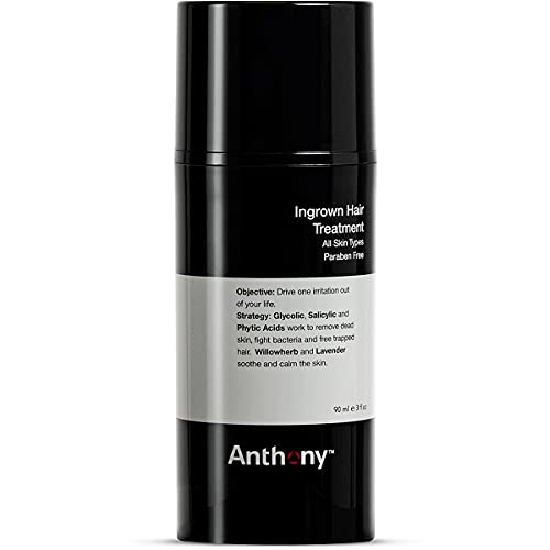 Anthony Ingrown Hair Treatment for Men – Gel Solution to Calm Down Razor Burn – Scar and Redness Eliminator, Bump Removal – 3 Fl. Oz