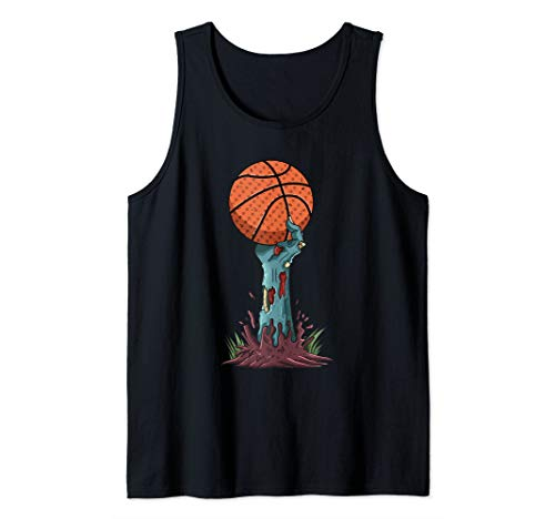Zombie Hands Basketball Funny Halloween Horror Scary Costume Tank Top