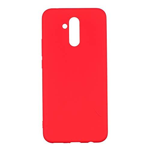 cuzz Funda para Huawei Mate 20 Lite+{Protector de Pantalla de Vidrio Templado} Carcasa Silicona Suave Gel Rasguño y Resistente Teléfono Móvil Cover-Rojo