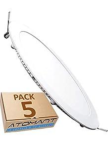 Pack 5x Panel LED redondo plano, 18W. Color Blanco Frío (6500K). 1600 lumenes. Driver incluido. Corte standard 200mm.