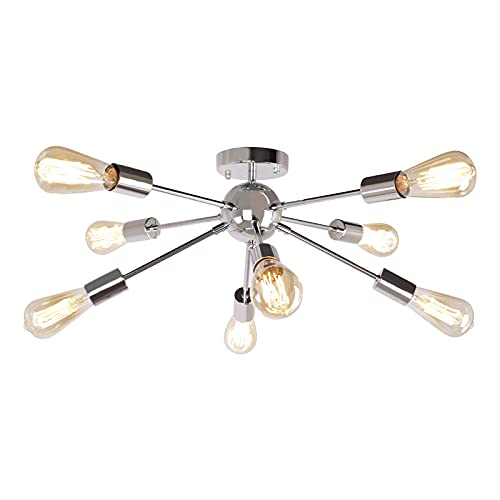 JHLBYL Lampada da Soffitto Metallo Cromo E27, 8 Luci Plafoniera Soffitto Moderni per Soggiorno, Semi Incasso Argento Lampadario camera da letto moderno