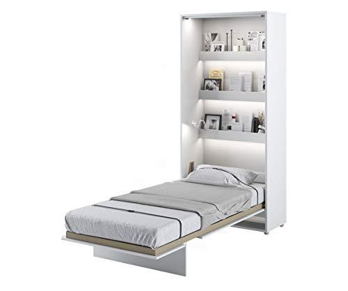 Schrankbett Bed Concept, Wandklappbett mit Lattenrost, V-Bett, Wandbett Bettschrank Schrank mit integriertem Klappbett Funktionsbett (BC-03, 90 x 200 cm, Weiß/Weiß, Vertical)