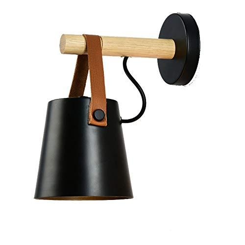 Yilingqi-1 Nordic LED wandlamp slaapkamer muur hangen wandlamp eenvoudige smeedijzeren houten riem wandlamp, zwart