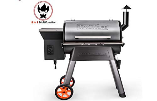 TACKLIFE Pellet Grill Smoker,700sq 8 in 1 BBQ Wood Pellet Grill with Precise Temperature Control and Pellet Feed Control System,180°f to 450°f, 20 pounds Hopper capacity-WPG01A Smokers
