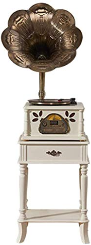 TYX-SS Turntable Gramophone Record Player Retro Bluetooth Speaker Vintage Wood Phonograph Copper Horn with CD Player /3.5Mm Aux-In