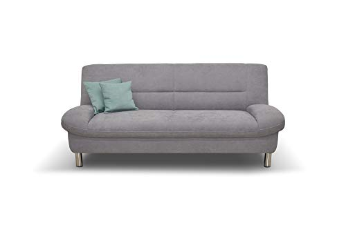 Domo Collection Asti COUCH 2-Sitzer / 2-Sitzer Sofa / Breite: 200 cm / Stoff: Microfaser in silber (grau), 3-2-1 Sofa Garnitur