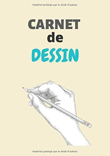 CARNET de DESSIN: Cahier de dessin A4   100 pages blanches pour dessins au crayon, au fusain et pastel   couverture souple