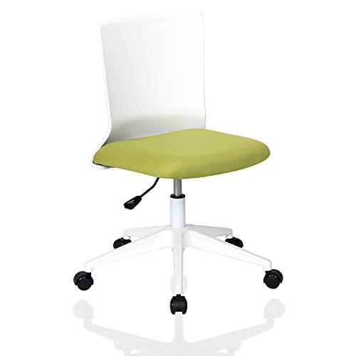 YOUNIKE Sedia da Ufficio Sedia Girevole Sedia da scrivania Schienale ergonomico Senza braccioli Poltrona Sedie da Pranzo Poco ingombrante Regolazione Altezza Facile da installare Verde bianco