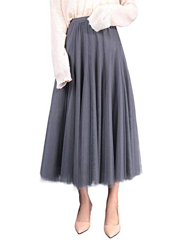 WangsCanis Damen Langer Tüllrock A Linie Tüll Röcke Einheitsgröße Elegante Hochzeit Tutu Maxiröcke (Grau, Einheitsgröße)