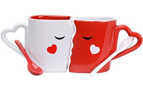 Cymax 2 Pièces Ensemble tasse couple café, Tasses à baiser en céramique Mr & Mrs tasses avec cuillères - douche nuptiale fiançailles mariage anniversaire Saint Valentin cadeaux de Noël pour couples