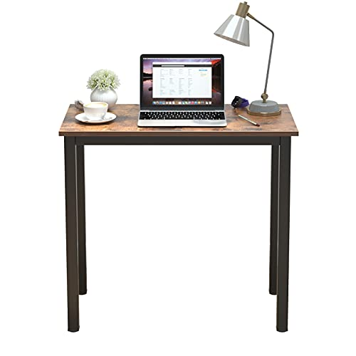 sogesfurniture Escritorios Compacto 80x40cm Mesa de Ordenador Escritorios para Computadora Escritorio de Oficina Mesa de Trabajo Mesa de Estudio de Madera y Acero, Marrón & Negro BHEU-AC3FB-8040