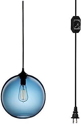 Nurluce Globe Pendant Light D20cm//7.8in*H220cm//87in Glass Shade Adjustable Cord Luxury Golden Pendant Lighting Hanging Ceiling Lights Fixture Lamps for Dining Living Room Kitchen Islands Dining Table Bedside Cafe Office Salon