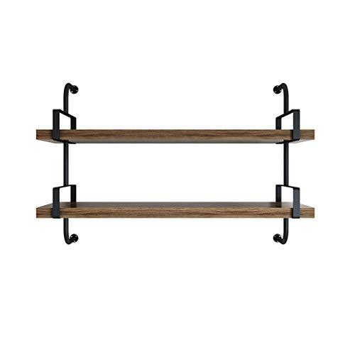 WWZWJ Baldas flotantes 2 Piso Hierro Forjado Estante, Pino Plank Planta, Dormitorio/Sala de Estar/Cocina/baño de Pared Decorativo Estante de Almacenamiento (Size : 80cm)
