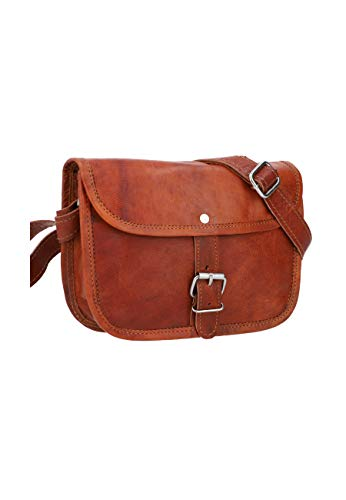 Gusti Umhängetasche Damen Leder - Mary M Ledertasche Handtasche Schultertasche Crossbody Damen Vintage Braun