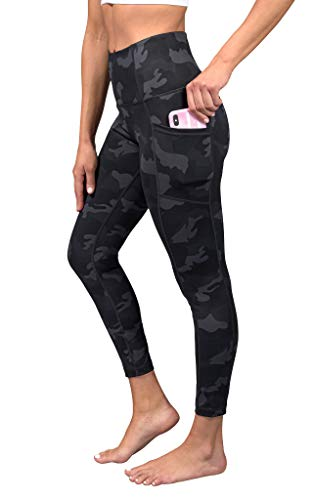 Yogalicious High Waist Soft Printed Ankle Leggings for Women - Black Camo Pocket - Small