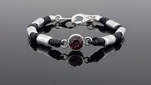 pulsera hecha a mano de cuero, zamak y cristal de swarovski, pulsera zamak, pulsera estilo uno de 50