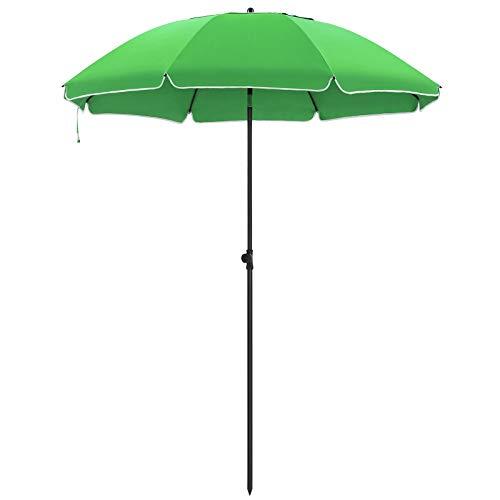 SONGMICS Sonnenschirm, 200 cm, Sonnenschutz, achteckiger Strandschirm aus Polyester, Schirmrippen aus Glasfaser, knickbar, mit Tragetasche, Garten, Balkon, Schwimmbad, Grün GPU65GNV1