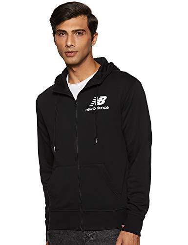 New Balance Herren Essentials Stacked Logo Full Zip Hoodie, Schwarz, Größe M