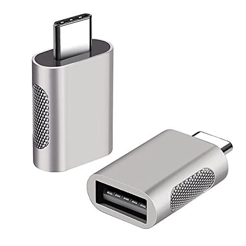 Adaptador USB-C a USB 3.0 Fabricado en aleación de Aluminio, OTG para Smartphones, OTG para MacBook y Dispositivos con Puerto USB-C, (2 Units / Plateado)