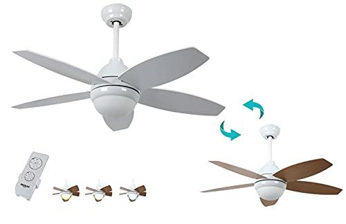 Bastilipo - Bali Blanco LED - Ventilador de techo LED con mando a distancia y palas reversibles.