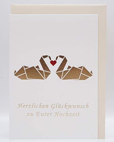 """NEU CherriFriends® Hochzeitskarte gold veredelt, Glückwunschkarte\""""Schwan\"""" Hochzeit, Grußkarte Hochzeit edel, Karte zur Hochzeit, Hochzeitskarte Geldgeschenk, Heirat"""