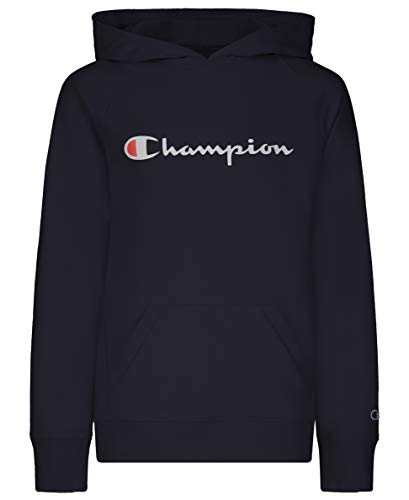 Champion Girls Classic French Terry Pull Over Hooded Sweatshirt Kids Clothing (Black Script, Large)
